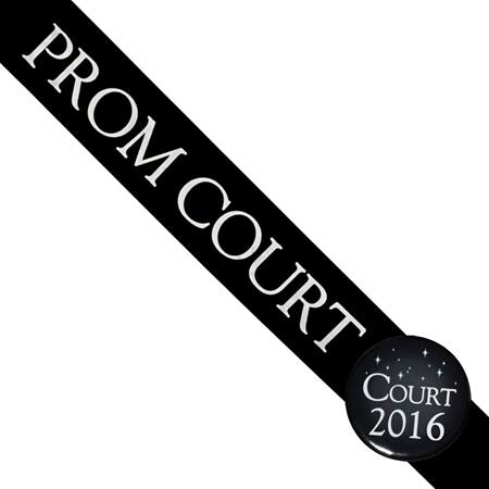 Prom Court Sash with Button Set - Black