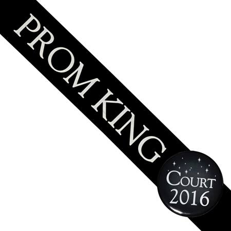 Prom King Sash and Button Set - Black
