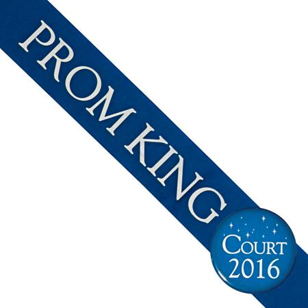 Prom King Sash and Button Set - Blue