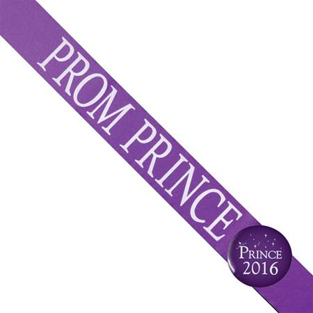 Prom Prince Sash with Button Set - Purple