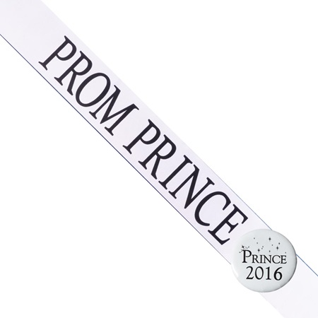 Prom Prince Sash with Button Set - White