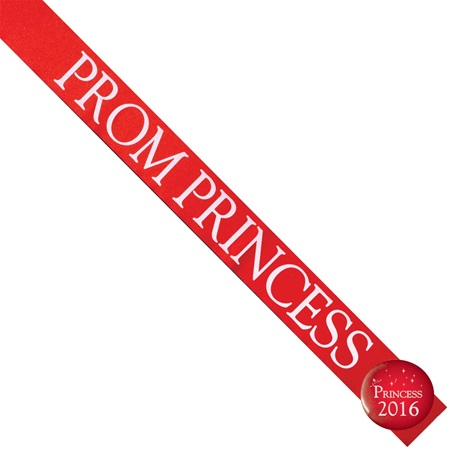 Prom Princess Sash with Button Set - Red