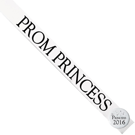Prom Princess Sash with Button Set - White