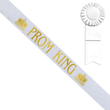 White Prom King Sash with Crown Design