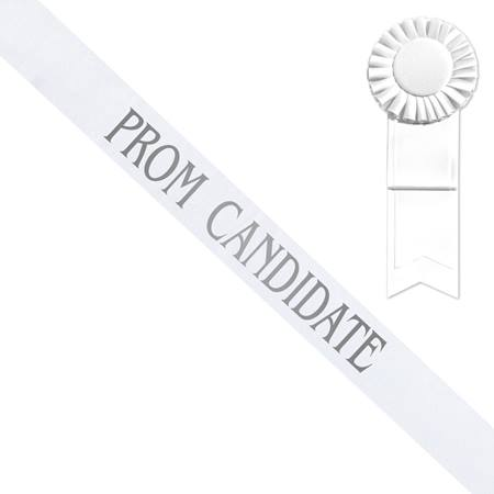 White Prom Candidate Sash, Silver Print