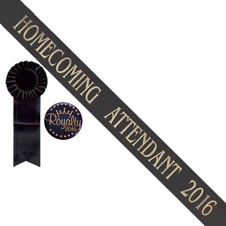 Black Homecoming Attendant Sash With Rosette and Button Set - Gold Print