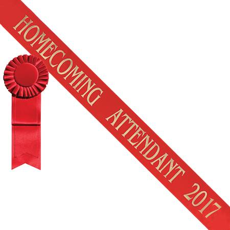 Homecoming Attendant 2017 Sash - Red/Gold Print