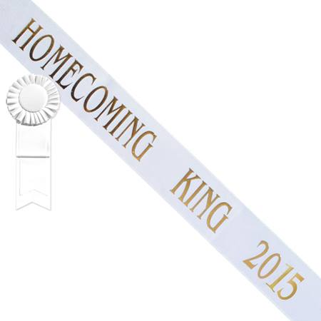 Homecoming King 2015 Sash - White/Gold with White Rosette