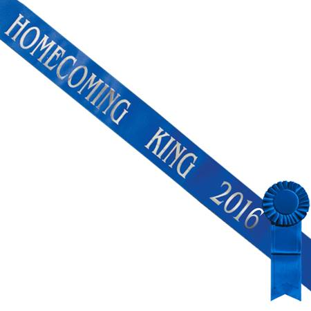 Blue Homecoming King 2017 Sash with Silver Script and Blue Rosette
