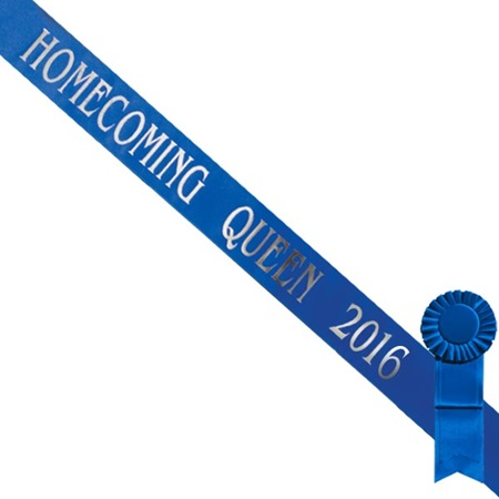 Blue Homecoming Queen 2016 Sash with Silver Script and Blue Rosette