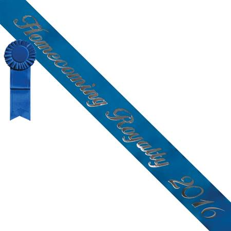 Homecoming Royalty 2016 Sash - Blue/Silver with Blue Rosette
