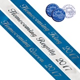 Homecoming Royalty 2017 Script Sash and Button Set - Blue/White