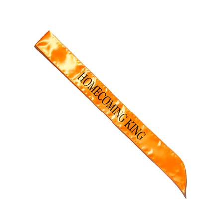 Homecoming King Satin Sash - Orange/Black