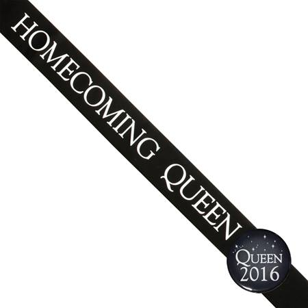 Homecoming Queen Sash and Button Set - Black and White