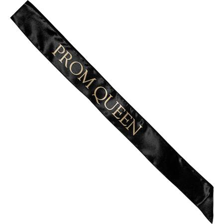 Satin Prom Queen Sash - Black and Gold