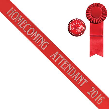 Red Homecoming Attendant Sash With Rosette and Button Set - Silver Print