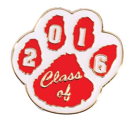 Class of 2016 Award Pin - Red/White Paw