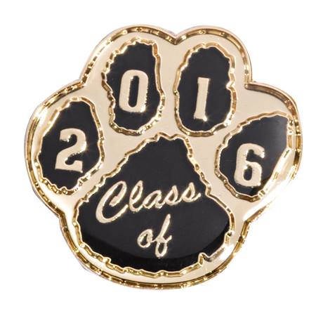Class of 2016 Award Pin - Black/Gold Paw