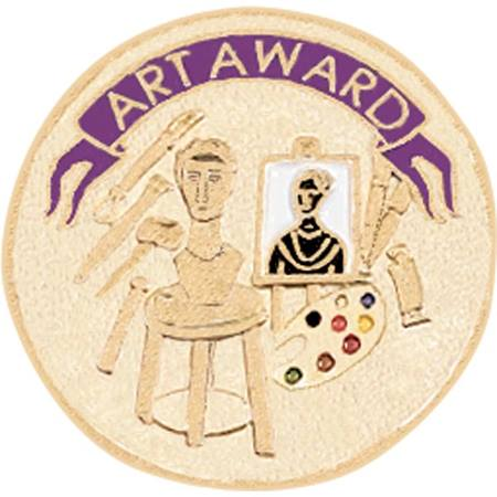 Art Award Pin - Gold with Purple Banner