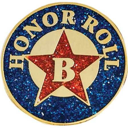 B Honor Roll Award Pin – Glitter