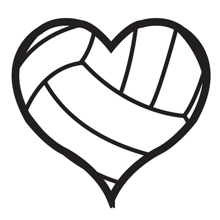 Waterless Tattoos - Heart Volleyball