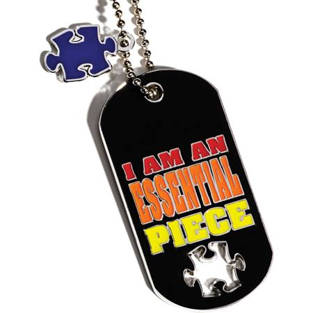 Dog Tag with Puzzle Piece Charm