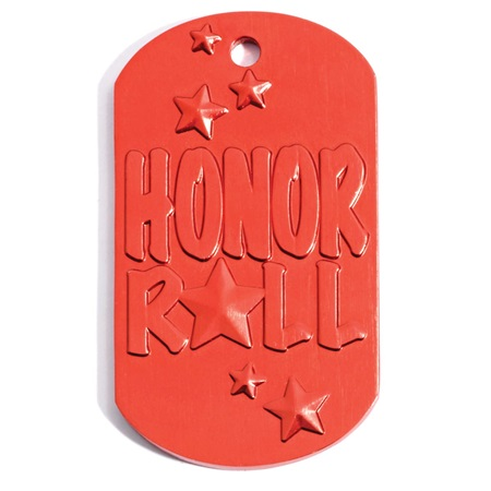 Red Honor Roll Dog Tag