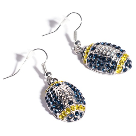 Football Earrings - Blue and Gold