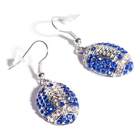 Football Earrings - Blue and White