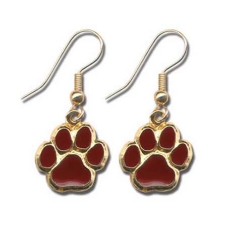 Maroon Paw Dangle Earrings