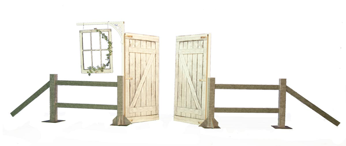 Rustic Barn Doors With Window and Fence Kit