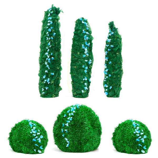 Lush Green Foliage Trees & Bushes Kit