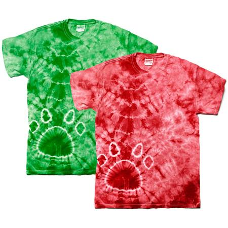 Paw Print Tie Dye T-shirt, Youth Size