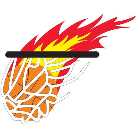 Flaming Basketball Net Temporary Tattoo