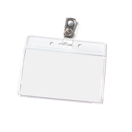 Blank Horizontal Photo ID Holder with Clip